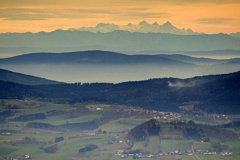 Ausblick Haidel Grainet Aussichtsturm Dachstein Herbst Bayerischer ...